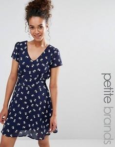 Чайное платье с собачками Yumi Petite - Темно-синий