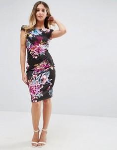 Платье миди с короткими рукавами и цветочным принтом Jessica Wright - Черный