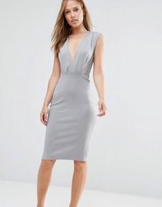 Платье-футляр длины миди с V-образным вырезом Alter - Серый
