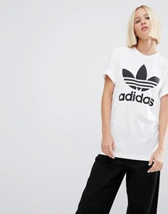 Oversize-футболка с логотипом‑трилистником adidas Originals - Белый