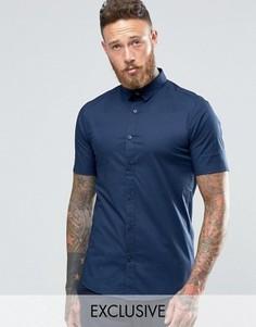 Строгая рубашка скинни с короткими рукавами Only & Sons - Темно-синий