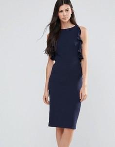 Платье-футляр миди с оборками Love - Темно-синий