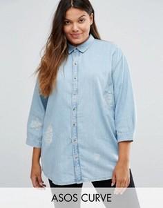 Потертая джинсовая рубашка с вышивкой ASOS CURVE Day Dreamer - Синий