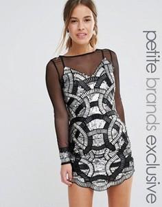 Платье мини с сетчатыми рукавами и обильной отделкой Maya Petite - Черный