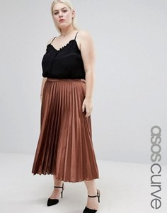Плиссированная юбка миди из атласа ASOS CURVE - Коричневый