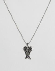 Серебристое ожерелье с крыльями Seven London эксклюзивно для ASOS - Серебряный