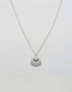 Ожерелье с броской подвеской Wolf & Moon - Синий