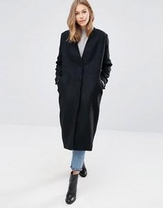 Oversize-пальто из фактурной ткани ASOS - Черный