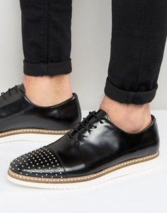 Кожаные туфли на шнуровке с заклепками на носке ASOS - Черный