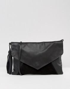 Кожаная сумка через плечо с кисточкой ASOS - Черный