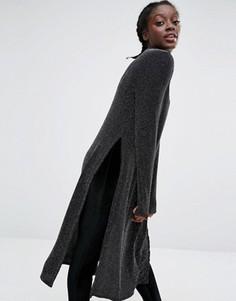 Туника цвета металлик с высокой горловиной и разрезами по бокам Monki - Черный