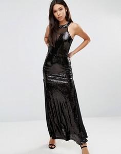 Платье макси с пайетками AX Paris - Черный