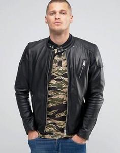 Черная кожаная байкерская куртка с эффектом поношенности Replay - Черный