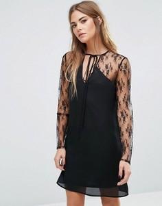 Платье с чокером-завязкой и кружевом Fashion Union - Черный