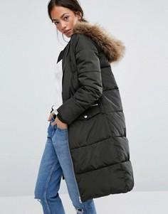 Дутое пальто с искусственным мехом New Look - Зеленый