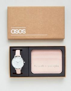 Часы и кредитница с надписью The World Is Your Oyster ASOS - Розовый