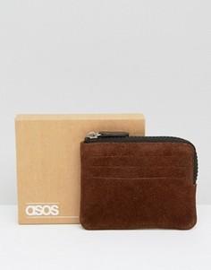 Коричневый замшевый кошелек на молнии ASOS - Коричневый