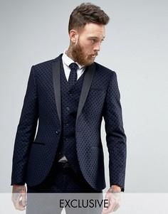 Приталенный пиджак в горошек Noak - Темно-синий
