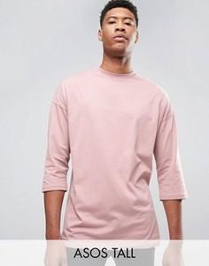 Розовая oversize‑футболка с рукавами 3/4 ASOS TALL - Розовый