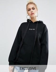 Oversize-худи бойфренда с вышивкой Kiss Adolescent Clothing - Черный