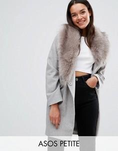 Пальто со съемным асимметричным меховым воротником ASOS PETITE - Серый