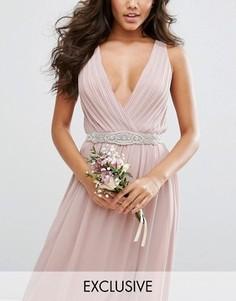 Узкий декорированный ремень TFNC WEDDING - Розовый