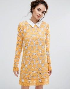 Кружевное платье мини с длинными рукавами Endless Rose - Желтый