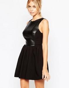 Короткое приталенное платье со вставкой из искусственной кожи Hedonia Amy - Черный