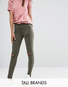 Джинсы с рваными коленями New Look Tall - Зеленый