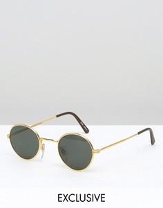 Черные круглые солнцезащитные очки в стиле ретро Reclaimed Vintage - Черный