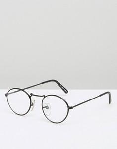 Круглые очки с прозрачными стеклами Reclaimed Vintage - Черный
