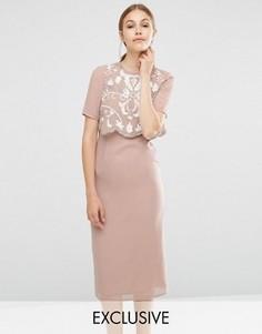 Платье-футляр с декорированным верхним слоем Frock and Frill - Коричневый