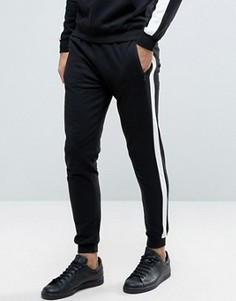 Спортивные штаны с широкими полосками и карманом на молнии Brave Soul - Черный