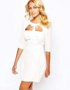 Короткое приталенное платье с бантиком спереди Love - Черный