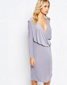 Платье миди с длинными рукавами и драпировкой спереди Love - Серый
