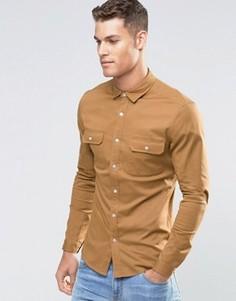 Светло-коричневая саржевая рубашка скинни в стиле милитари с длинными рукавами ASOS - Рыжий
