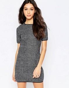 Клетчатое цельнокройное платье миди с рукавами 3/4 Mela Loves London - Серый