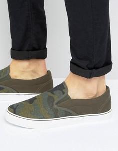 Кеды-слипоны с камуфляжным принтом Brave Soul - Зеленый