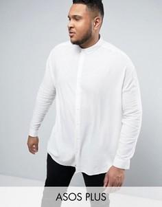 Белая oversize-рубашка с добавлением вискозы ASOS PLUS - Белый