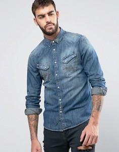 Узкая джинсовая рубашка в стиле вестерн Wrangler - Синий