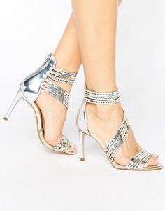 Серебристые кожаные босоножки на каблуке с ремешками Carvela Girl - Серебряный