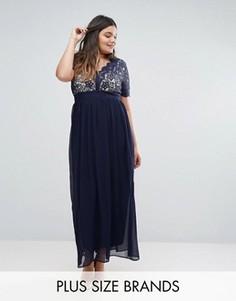 Платье макси с кружевным верхом Club L Plus - Темно-синий
