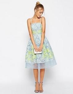 Платье для выпускного с отделкой кружевом и аппликацией ASOS Salon Premium - Синий