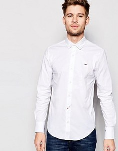 Белая эластичная рубашка слим с логотипом‑флажком Hilfiger Denim - Белый