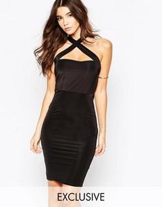 Облегающее платье миди с перекрестной отделкой NaaNaa - Черный