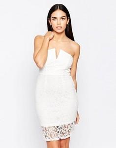 Кружевное структурированное платье бандо Club L - Кремовый