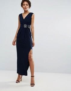 Синее трикотажное платье макси Coast Emile - Темно-синий
