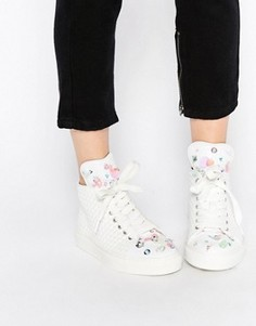 Белые высокие кроссовки с 3D‑цветами и пайетками Minna Parikka Bumble - Белый