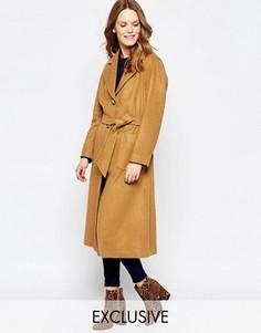 Пальто на пуговицах с поясом из верблюжьей шерсти Helene Berman - Коричневый