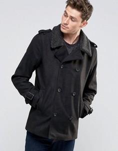 Пальто-бушлат с воротником из искусственного меха Brave Soul - Черный